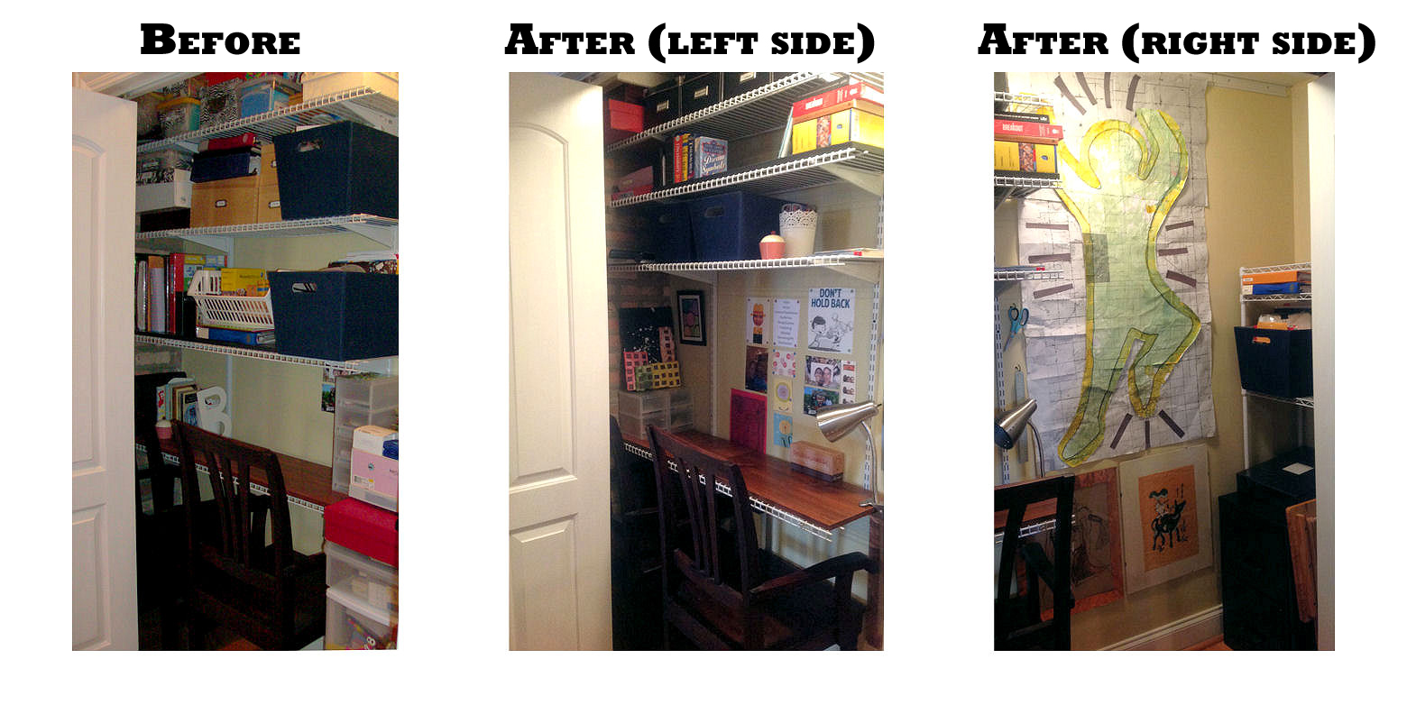 Closet office before and after